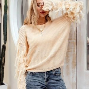 By simplee women's pullover sweater with fringe